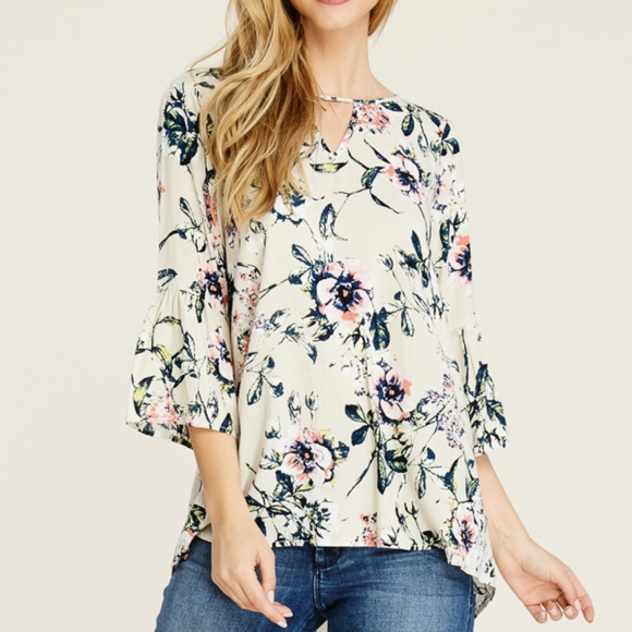staccato Tops - NWT Staccato floral bell sleeve high low blouse